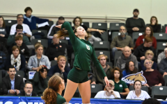 Sac State senior outside hitter Sarah Davis hits the ball against Montana State on Thursday, Nov. 28 at the Nest. The Hornets were eliminated in the quarterfinals of the Big Sky Tournament by the Bobcats.