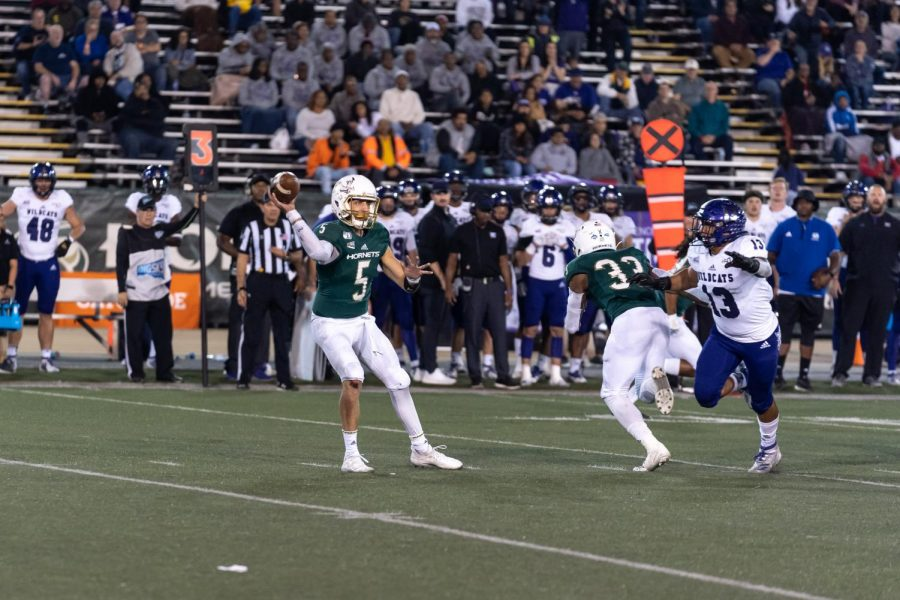 Sac State junior quarterback Kevin Thomson throws a pass against No. 3 Weber State on Nov. 2 at Hornet Stadium. Thomson returned from injury Saturday to lead the Hornets to a 31-7 road win at Idaho.