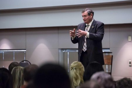 CSU Chancellor Timothy White hosts an open panel with the public at the CSU Long Beach on Thursday Jan. 21, 2016. White announced his retirement last month and Sac State will be hosting the first listening forum as part of the search for his replacement.