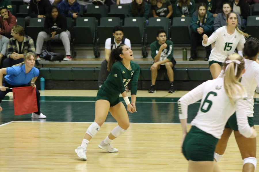 Sac State junior libero Michelle Taynton prepares to bump the ball against Weber State on Thursday, Nov. 14 at The Nest. After being defeated by Portland State and Northern Colorado on the road, the Hornets begin the Big Sky tournament at The Nest on Thursday, Nov. 28 against Montana State.