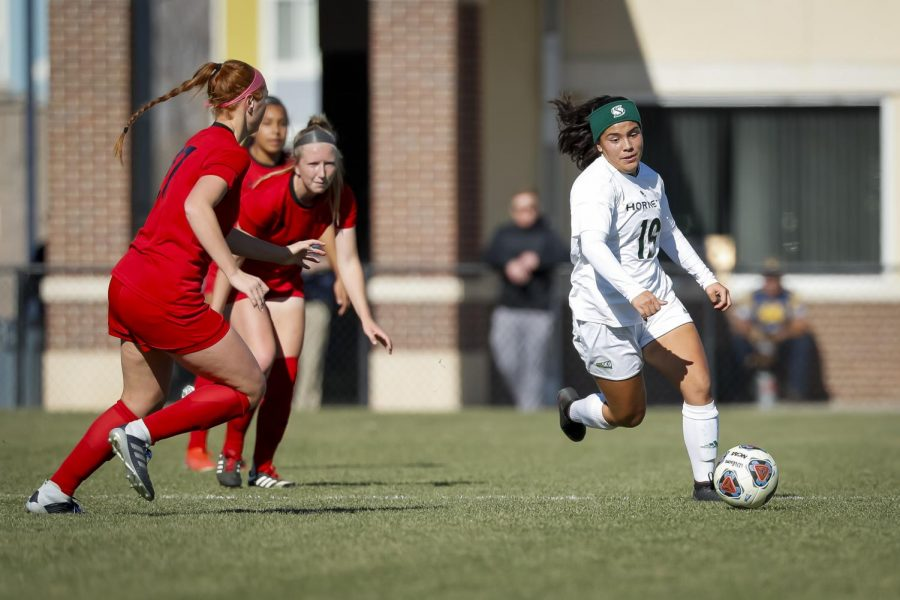 Sac State senior midfielder Camila Fonseca dribbles through the defense against Eastern Washington on Friday, Nov. 8 in Greeley, Colorado. The Hornets lost to the Eagles 2-1 in overtime of the Big Sky Championship semifinals, snapping a record 17-game unbeaten streak.