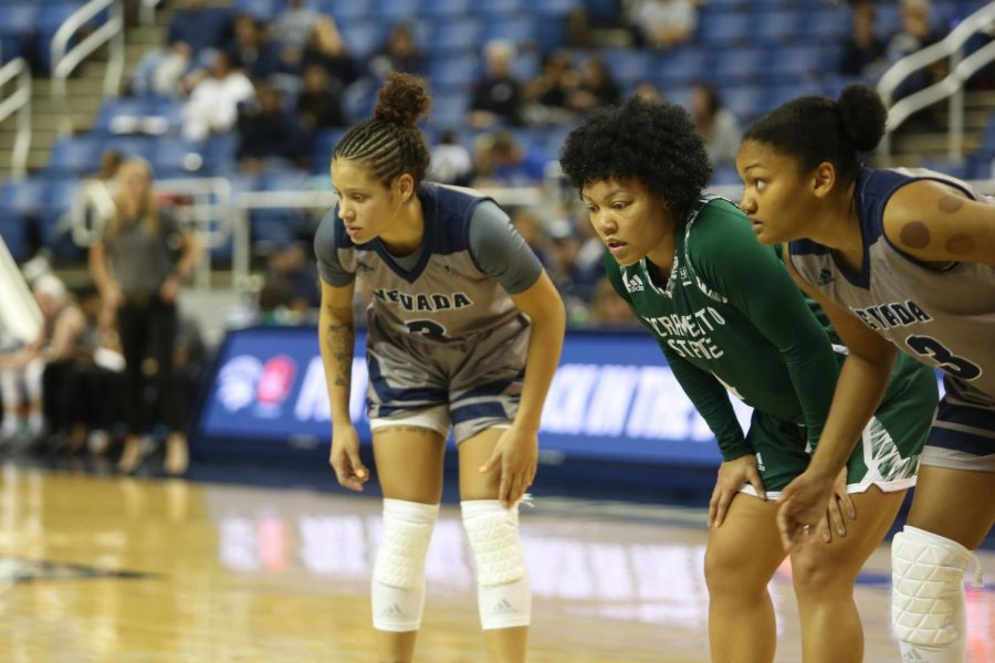 Sac State senior guard Camariah King lines up along the key between two former Nevada Wolf Pack teammates on Saturday, Nov. 9 in Reno, Nevada. King says Nevada's decision to move on from her came as a shock.