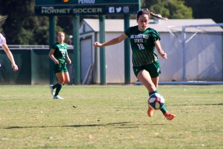 Sac State junior forward Alyssa Baena dribbles upfield against Eastern Washington on Saturday, Oct. 27 at Hornet Field. The Hornets begin the Big Sky Championship Friday as the second seed in Greeley, Colorado.
