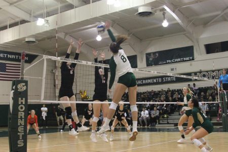 Sac State volleyball team defeats Idaho State on senior night