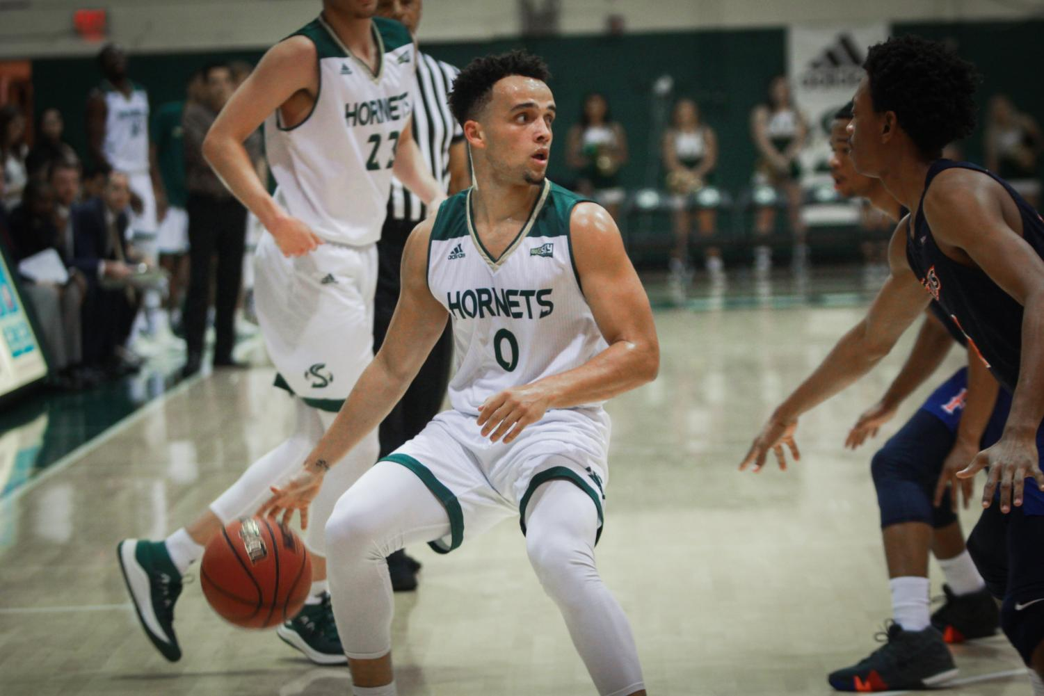 Sac State guard Marcus Graves dribbles the ball against Cal State Fullerton on Saturday, Nov. 24, 2018 at The Nest. Graves averaged 17 points, 4.7 rebounds, 5.4 assists, and 2 steals per game while at Sac State.