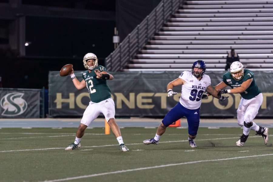 Sac State sophomore quarterback Jake Dunniway prepares to throw against No. 3 Weber State on Saturday, Nov. 2, at Hornet Stadium. Dunniway will start at quarterback for the No. 5 Hornets this Saturday at Northern Arizona if junior Kevin Thomson is unable to play due to injury.