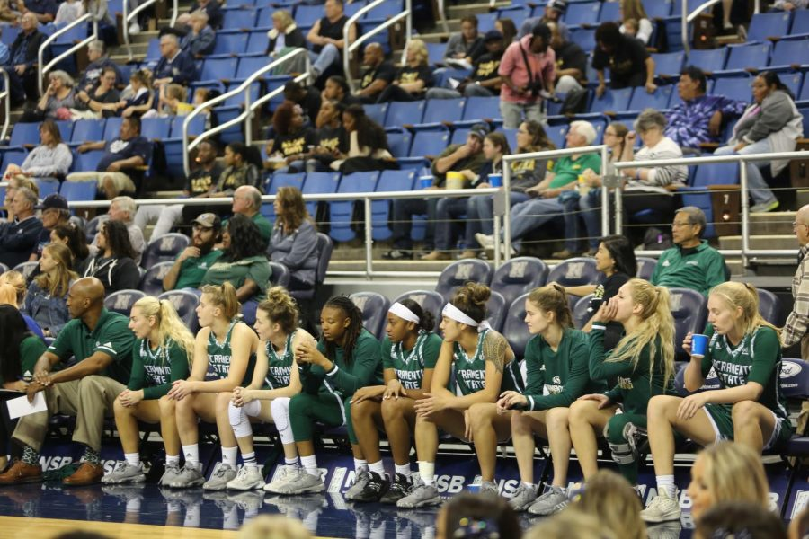 The Hornets bench watches their starters build an early lead in the first half of their season opener against Nevada on Saturday, Nov. 9 at Lawlor Events Center in Reno, Nevada. Sac State lost 73-67 to San Jose State on the road Sunday.