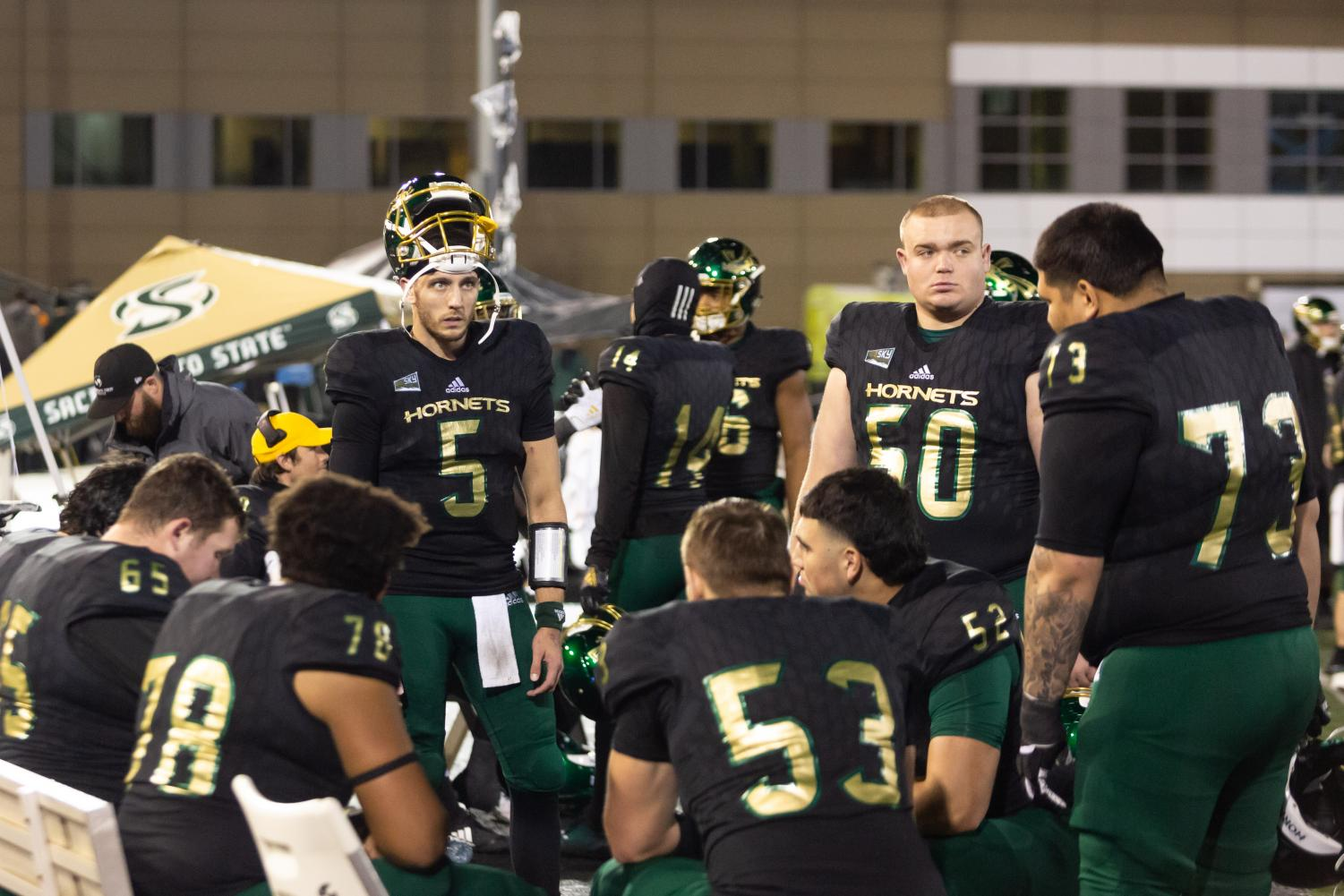 Sac State junior quarterback Kevin Thomson (5) and his teammates watch the clock wind down to its last 10 seconds of a loss against Austin Peay on Saturday, Dec. 7 at Hornet Stadium. The Hornets lost to the Governors 42-28 in the second round of the FCS Playoffs.