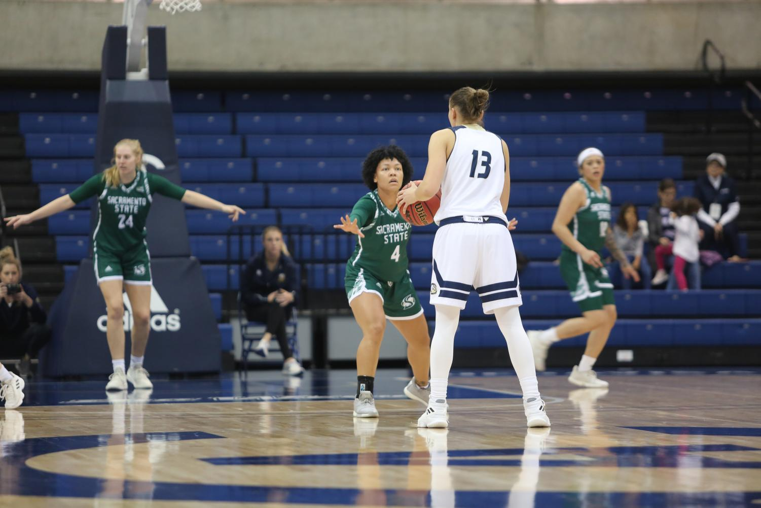 Sac State senior guard Camariah King guards UC Davis senior guard Katie Toole against the Aggies on Tuesday, Nov. 26 at The Pavilion. The Hornets lost 88-84 on the road at Seattle University on Friday.