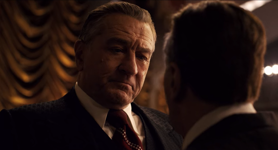 Robert+De+Niro+and+Al+Pacino+in+Martin+Scorsese%27s+%22The+Irishman%22.+De+Niro+plays+the+real-life+figure+Frank+Sheeran%2C+a+mafia+heavy+rumored+to+killed+Jimmy+Hoffa.+Screenshot+via+Netflix.