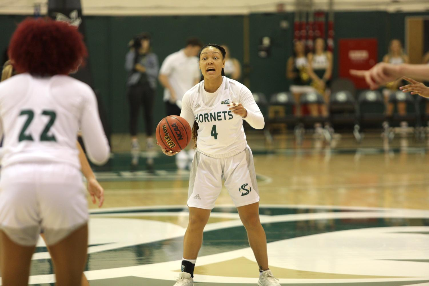 Sac State senior guard Camariah King calls out a play against Montana State on Saturday, Dec. 28 at the Nest. The Hornets were defeated by the Bobcats 85-48.
