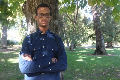 Political science major Floyd Johnson II, president emeritus of the Sac State College Republicans. Johnson was involved in an altercation with Sac State student Keaton Hill on Friday that was filmed and went viral on twitter.