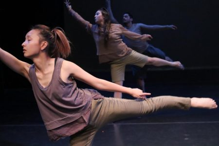 Sac State dancers Joyce Vang, Juliane Rose Cooper and Louis Moreno rehearse for their upcoming shows. Sac State