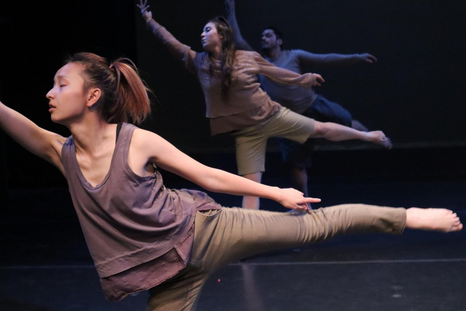 Sac State dancers Joyce Vang, Juliane Rose Cooper and Louis Moreno rehearse for their upcoming shows. Sac State's University Dance Company will be performing at Shasta Hall from Dec. 5 to Dec. 7.