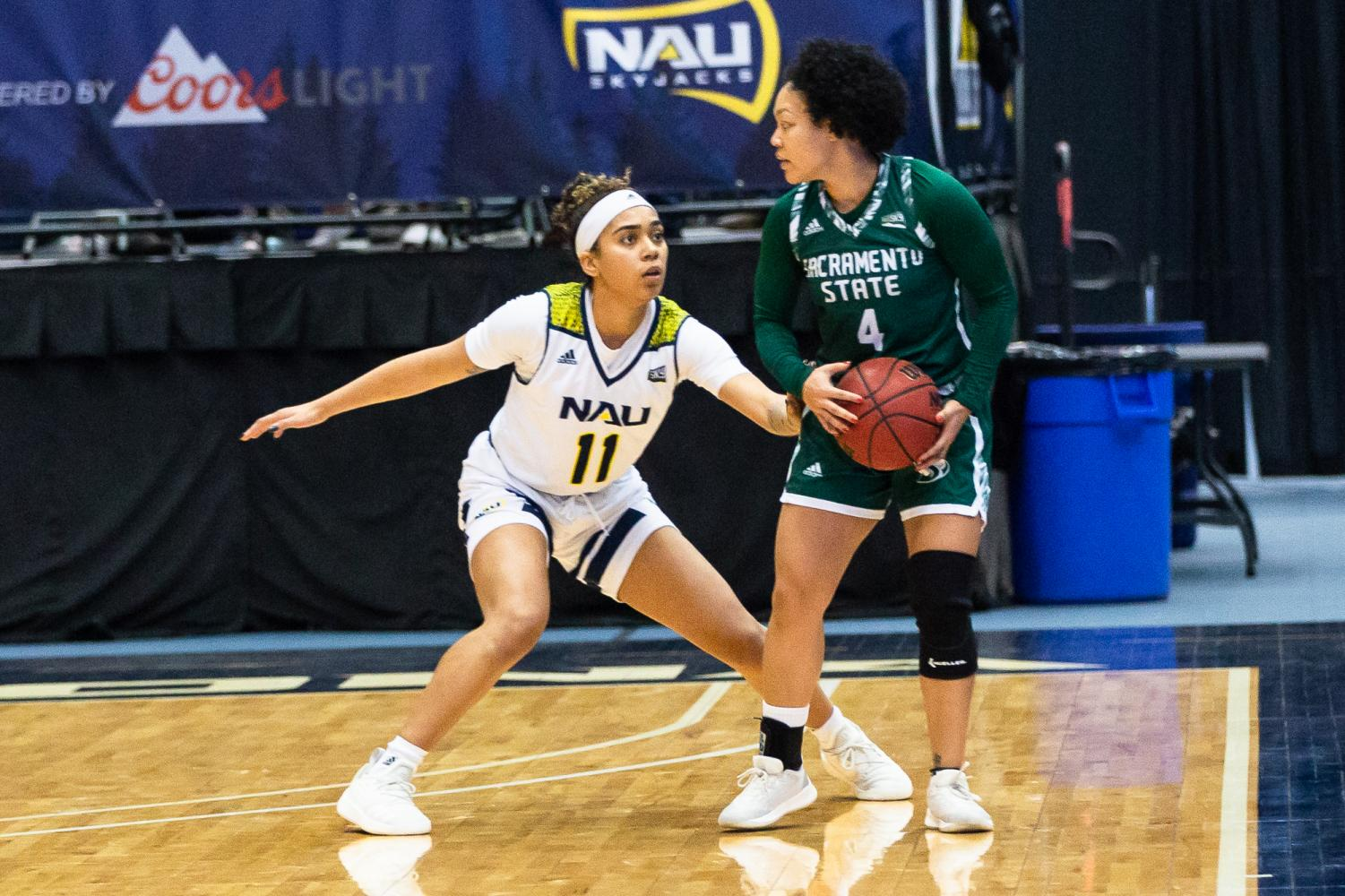 Sac State senior guard Camariah King pivots against Northern Arizona junior guard Jacey Bailey versus the Lumberjacks on Thursday, Jan. 9 at the Joseph C. Rolle Activity Center. The Hornets lost in double-overtime on the road 114-107 at Northern Arizona on Thursday night.