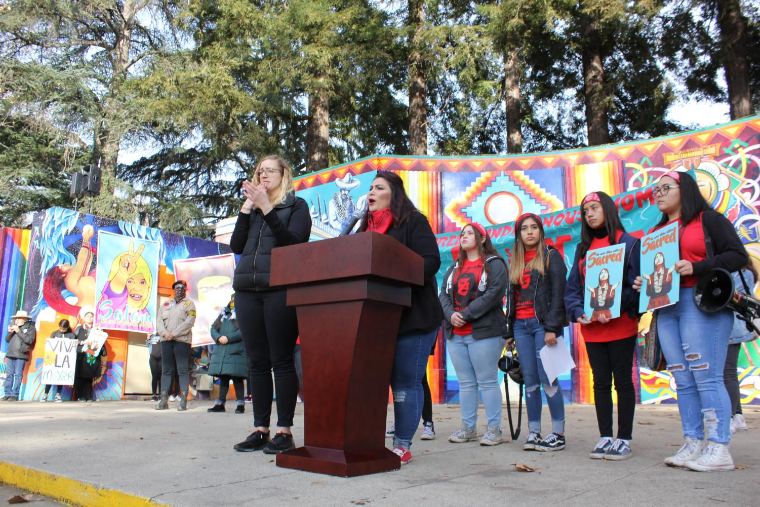 #VivaLaMujer advocate Ruth Ibarra speaks at Southside Park for organization NorCal Resist at the Sacramento Women's March on January 18, 2020. Thousands marched together in support of equal rights at the fourth annual iteration of this event.
