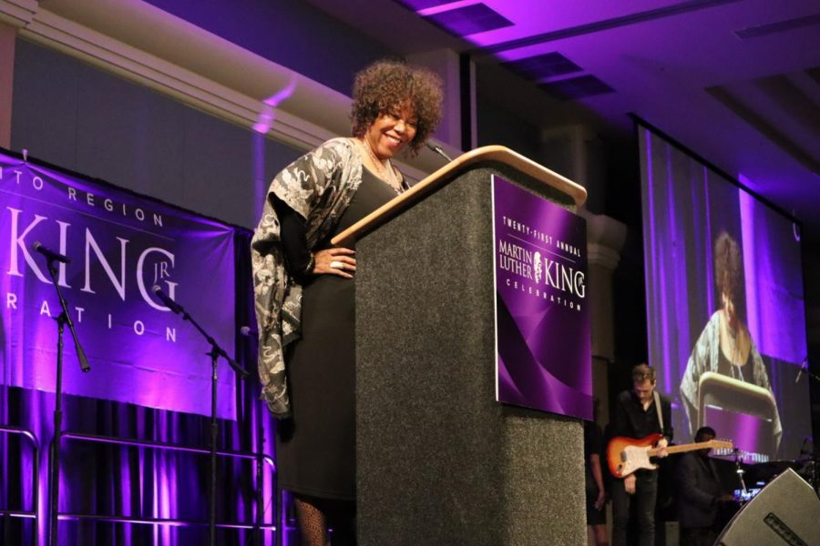 Racial equality activist Ruby Bridges addresses the crowd during the 21st Annual Martin Luther King Jr. Celebration at the Sac State Union Ballroom on Sunday, Jan. 26. Bridges was recognized for being the first Black child to desegregate an elementary school in the south.