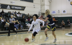 Sac State senior guard Camariah King dribbles around Northern Arizona junior guard Lauren Orndoff on Monday, Jan. 27 at the Nest. The Hornets were defeated by the Lumberjacks 85-65.