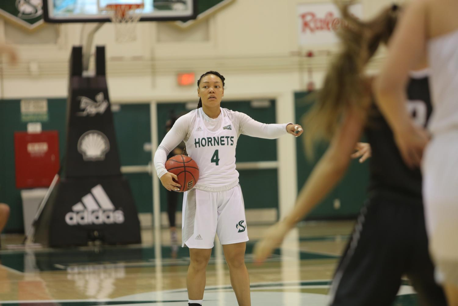 Sac State senior guard Camariah King calls out a play against Montana on Monday, Dec. 30, 2019 at the Nest. The Hornets lost on the road to Idaho State 80-62 on Saturday, Jan. 4, 2020.
