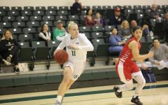 Sac State sophomore guard Summer Menke sprints past Southern Utah senior guard Rebecca Cardenas against the Thunderbirds on Saturday, Jan. 18 at the Nest. The Hornets won 74-67 at Eastern Washington on Saturday afternoon.
