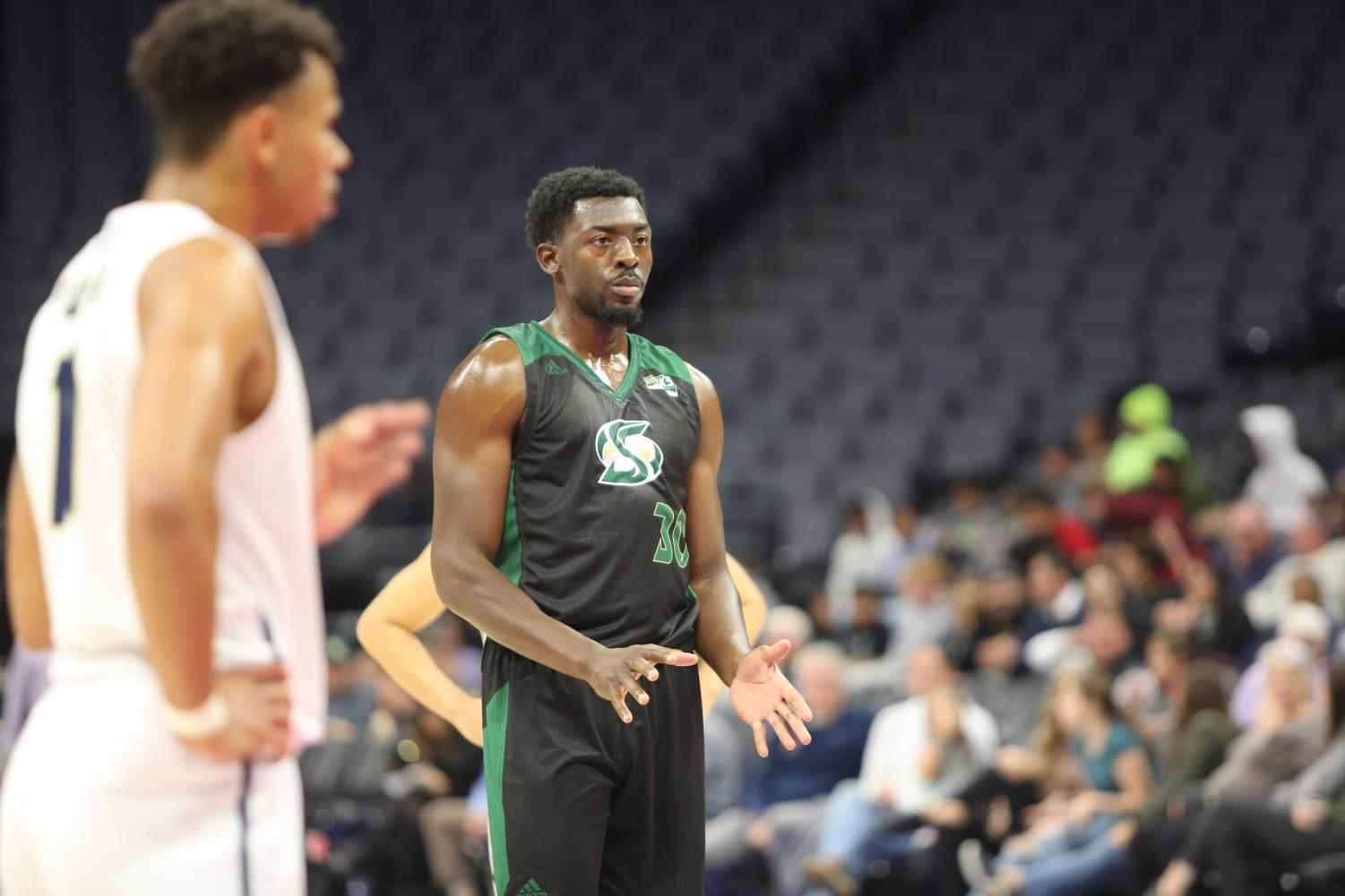 Sac State senior center Joshua Patton waits to shoot a free throw against UC Davis on Wednesday, Nov. 20 2019 at Golden 1 Center.  Patton became the second center in Sac State history to score 1000 career points during the team's Saturday night victory over Idaho State 68-49.