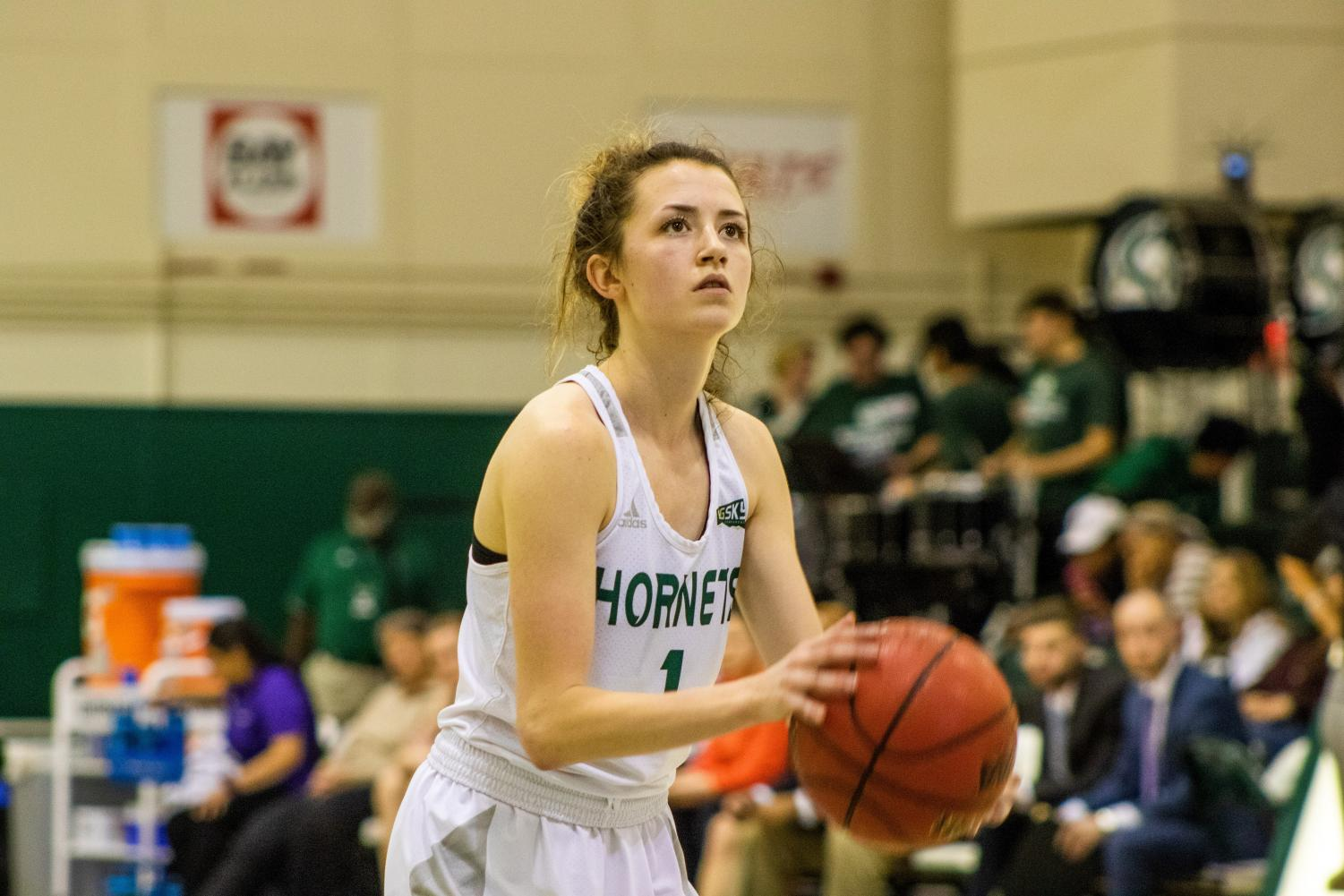 Sac State sophomore point guard Milee Enger prepares to shoot a free throw against Weber State on Thursday, Feb. 6 at the Nest. The Hornets defeated the Wildcats 58-52.