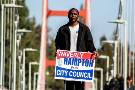 Sac State electrical engineering major Waverly Hampton III stands on the Guy West Bridge at Sac State on Friday, Feb. 7. Hampton is running on a platform of homelessness reform and solar initiatives.