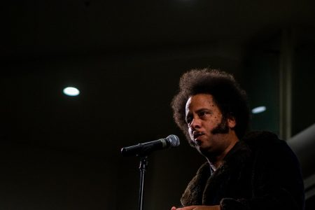 "Boots Riley talks socioeconomic struggles, discrimination and the impact from his first feature film ""Sorry to Bother You"" at the University Union at Sacramento State, Feb. 13, 2020."