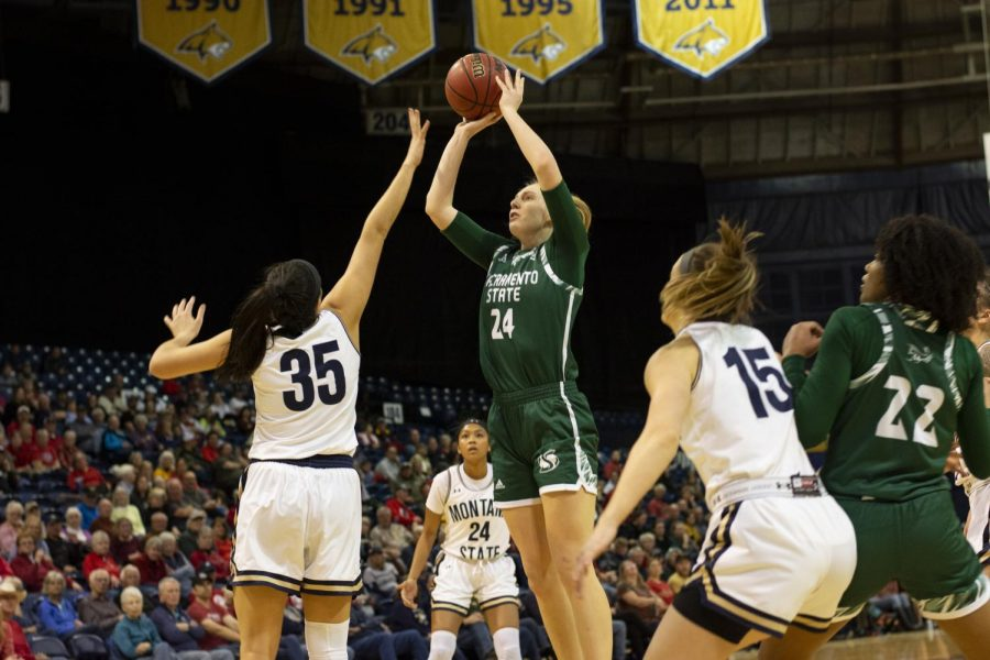 Sac State sophomore guard Tiana Johnson shoots the ball against Montana State on Thursday, Feb. 27 at Brick Breeden Fieldhouse. The Hornets were defeated 113-69 by the Bobcats.