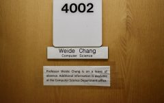 Note left on door of computer science associate professor's Weide Chang office in Riverside Hall, alerting students of his leave of absence. The university said he was intercepted on his way to class Wednesday, Feb 19.