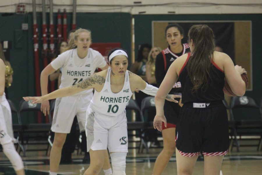 Sac+State+senior+guard+Gabi+Bade+stares+down+an+opponent+against+Eastern+Washington+at+the+Nest+on+Thursday%2C+Feb.+20.+The+Hornets+lost+78-73+to+Eastern+Washington.+