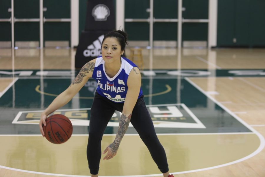 Sac State senior guard Gabi Bade crosses over while wearing her Philippines national team jersey on Monday, Jan. 26 at the Nest. Bade is one of three seniors on the Hornets young roster.