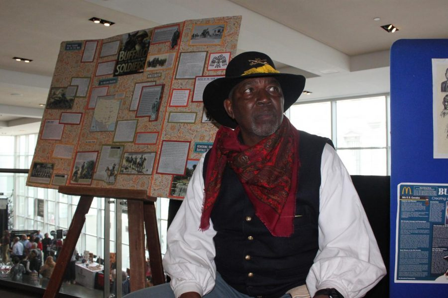 Buffalo Soldier exhibition host Bill Terrell explained the importance of history of the Buffalo Soldiers at the Crocker Art Museum's Black History Month Family Festival on Feb. 16, 2020. The museum hosted Black artists and culture.