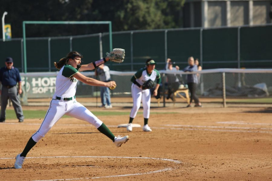 Sac+State+senior+pitcher+Jensen+Main+throws+a+pitch+against+California+Baptist+at+Shea+Stadium+on+Friday%2C+Feb.+7.+Main+pitched+six+innings+with+two+strikeouts+and+only+four+hits+allowed+against+California+Baptist.+