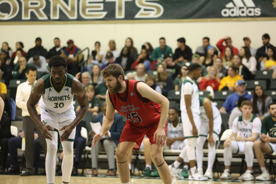 Sac State senior center Joshua Patton prepares to box out against Eastern Washington sophomore forward Tanner Groves at the Nest on Saturday, Feb. 1. The Hornets fell on the road 77-76 to the Eagles on Thursday night.