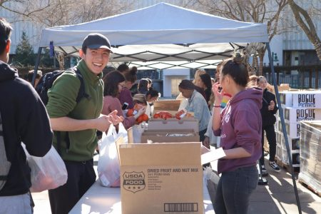 Jacob Moore, a biology medication major visits the Sac State Associated Students Inc. first Pop-Up Pantry of the semester in the Library Quad on Monday, Feb. 10, 2020. The Pop-Up Pantry provides fresh produce and many other items to students in need.
