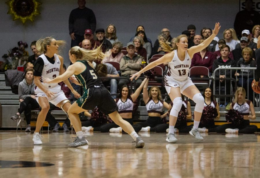 Sac State sophomore guard Brooke Panfili attempts to get by Montana sophomore guard  Sophia Stiles on Saturday, Feb. 29 at Dahlberg Arena. The Hornets lost to the Lady Griz 90-45.