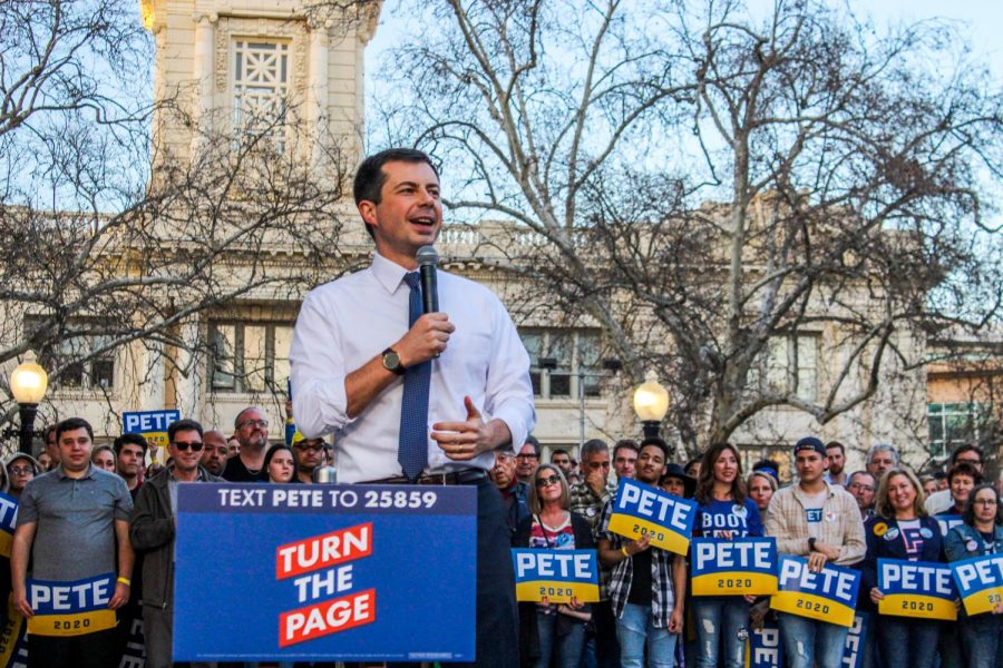 Mayor Pete Buttigieg speaks in front of a crowd of supporters in Cesar Chavez Plaza in Downtown Sacramento Friday, Feb. 14.