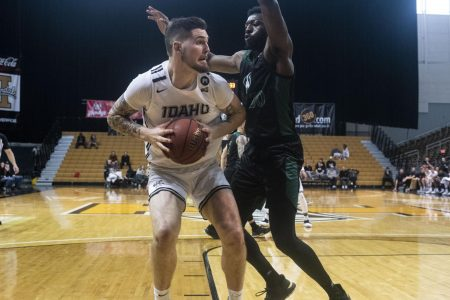 Sac State senior center Joshua Patton attempts to block Idaho on the road at Kibbie Dome on Saturday, Feb. 22. The Hornets defeated the Vandals 67-56.