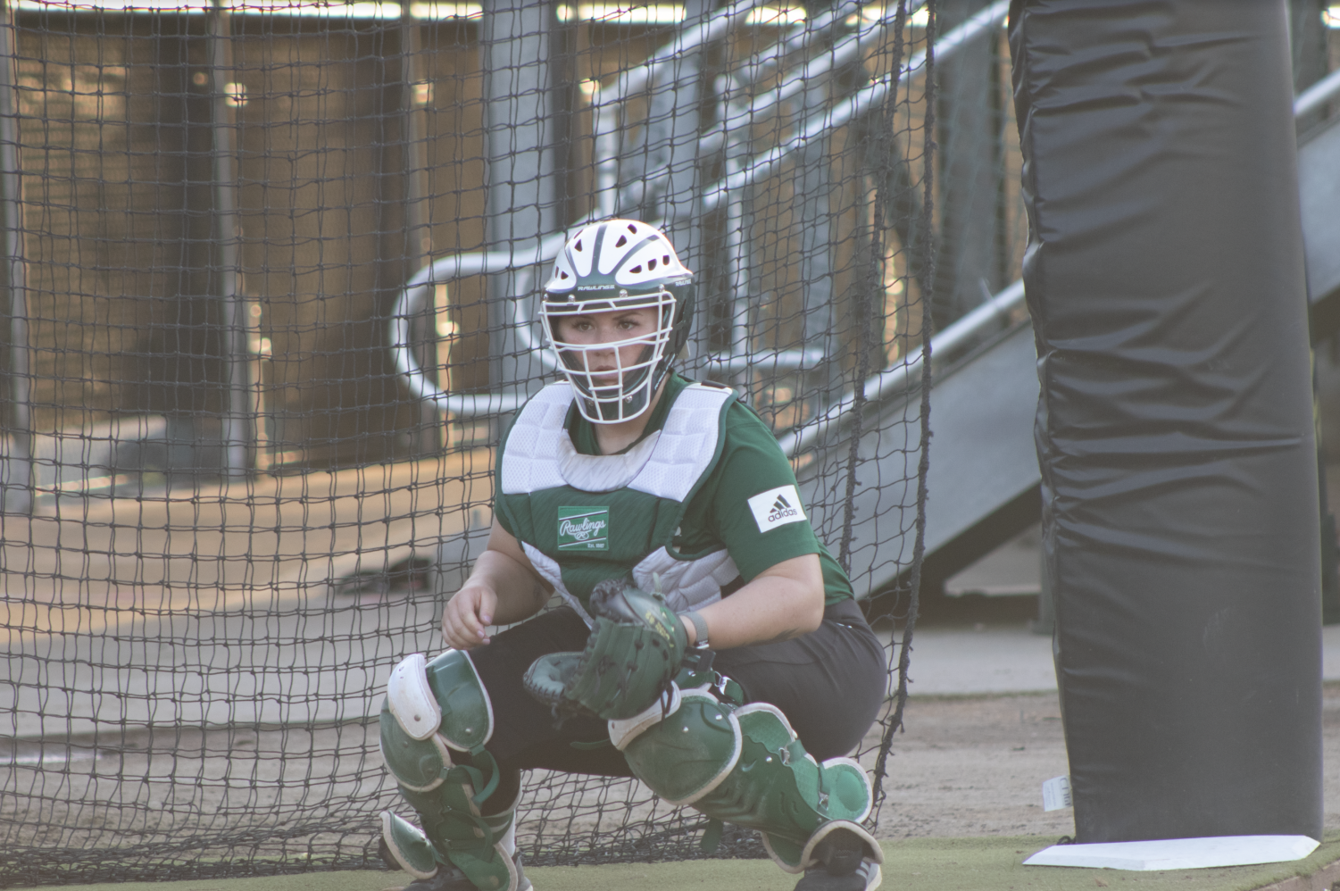 Sac State senior catcher Jessica Scott receives the ball from senior pitcher Jensen Main during practice on Thursday, Jan. 30. The Hornets begin their season Friday at Shea Stadium.