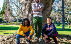 Donny Lewis Jr., Chukwudi Nnodim and Jordan Neel pose for a photo near Lassen Hall on Monday, Feb. 4. All three men shared their thoughts on their experience as Black students.