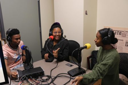 From left to right: Staff writer Nijzel Dotson,  freshman criminal justice major Hannah Rowlett and diversity and identity reporter Kayleen Carter. On Feb 5, 2020 they discussed the Black student experience at Sac State for this week's episode of The State Hornet News Podcast.