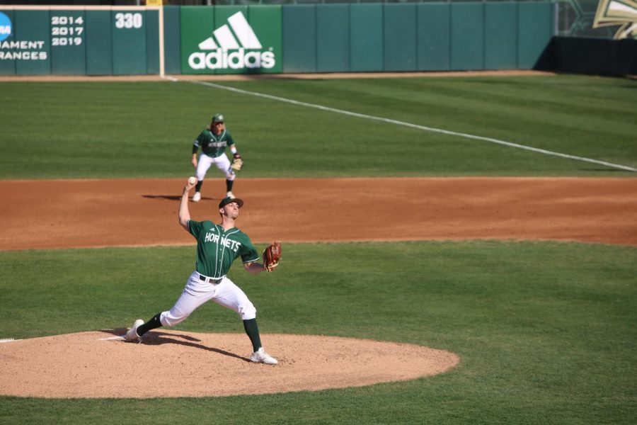 Sac State junior pitcher Scott Randall throws a pitch against UC Santa Barbara on Saturday, Feb. 15 at John Smith Field. The Hornets lost two of three games to the Gauchos.
