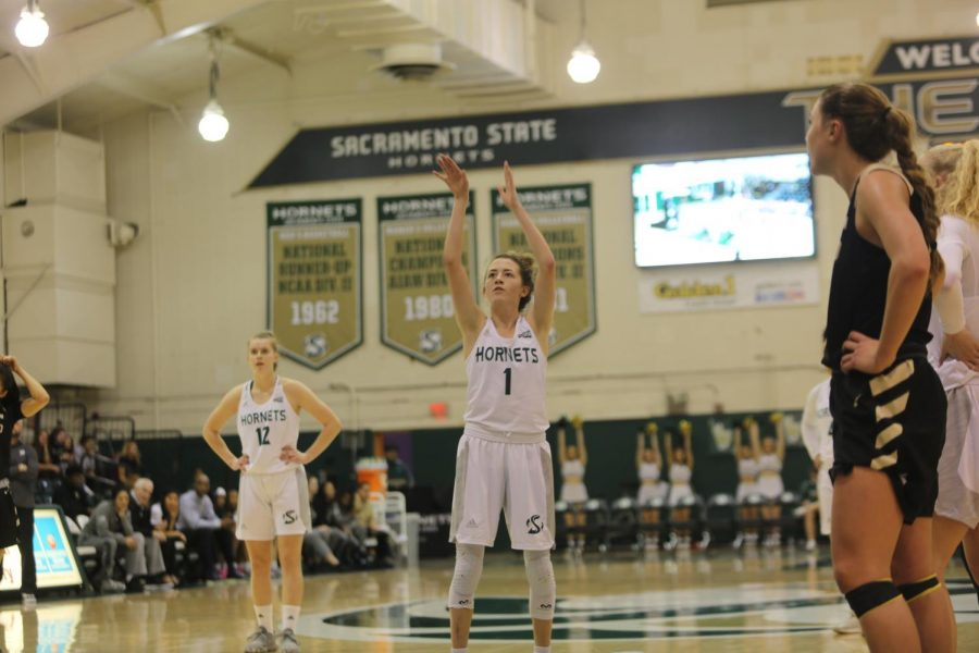 Sac+State+sophomore+point+guard+Milee+Enger+shoots+a+free+throw+against+Idaho+on+Saturday%2C+Feb.+22+at+the+Nest.+Enger+scored+a+career-high+18+points+in+the+loss.