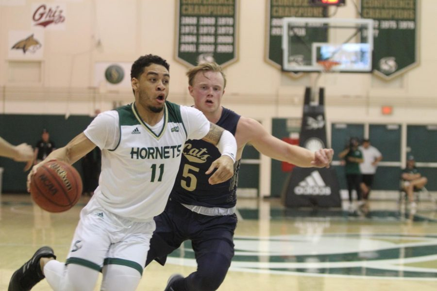 Sac State sophomore guard Brandon Davis driving to the rim, getting by his defender at the Nest against Montana State on Thursday, Feb. 27. The Hornets beat the Bobcats 81-52.