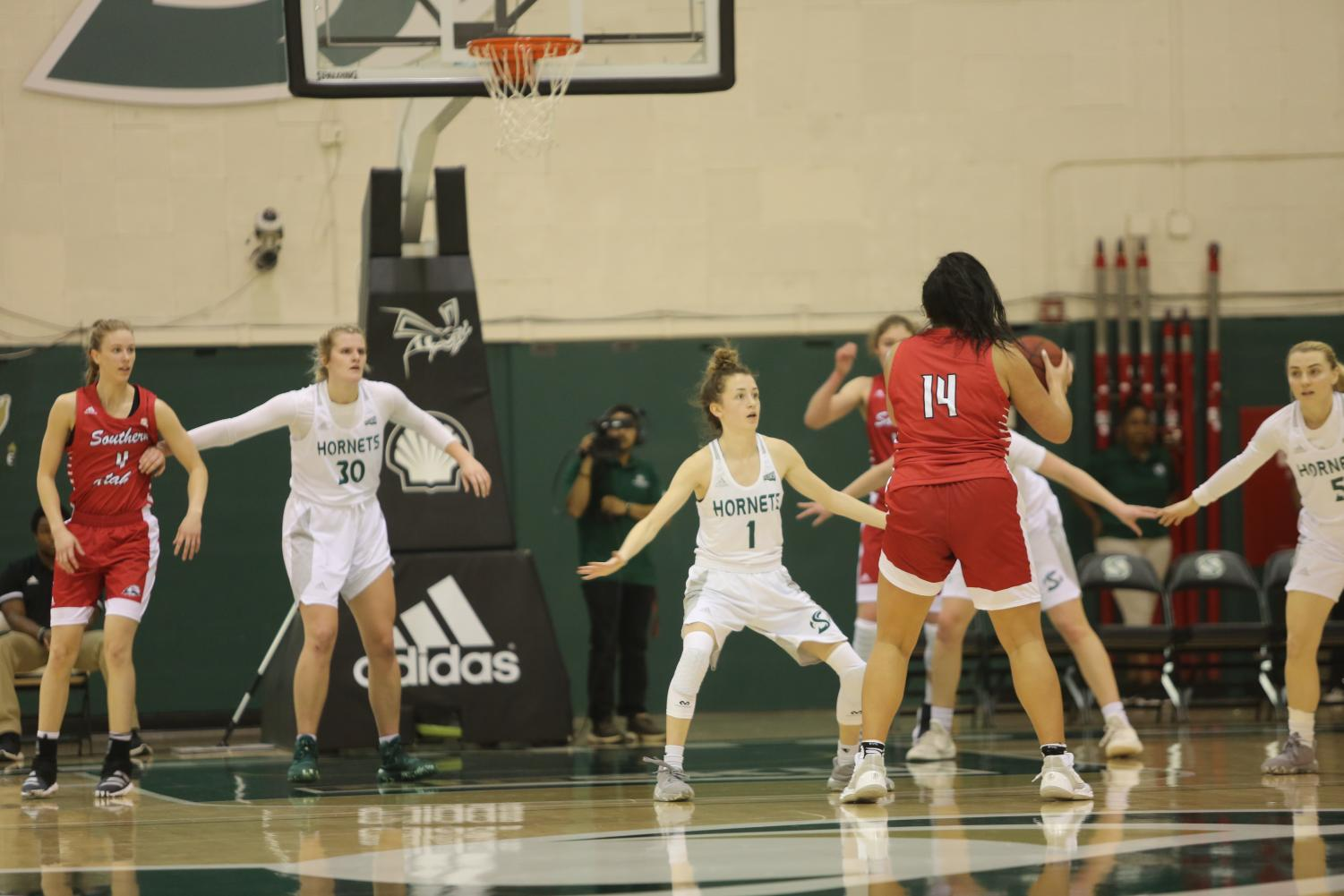 Sac State sophomore point guard Milee Enger defends Southern Utah freshman forward Shalyn Fano against the Thunderbirds on Saturday, Jan. 18 at the Nest. The Hornets lost 70-44 at the University of Idaho on Monday night.
