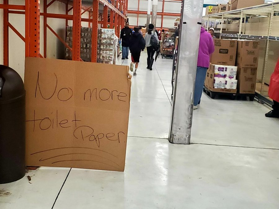 A sign at WinCO Foods in Elk Grove was made by a WinCo employee on Sunday, March 15, informing customers that they are out of toilet paper. People flocked to stores due to the COVID-19 outbreak and possible mass lockdown.