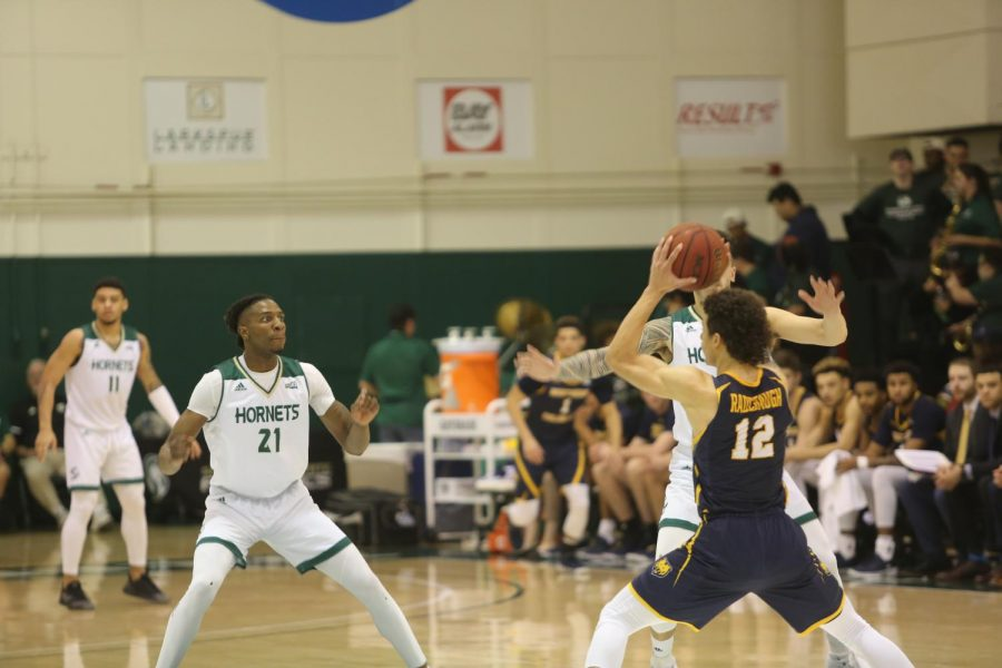 Senior forward Osi Nwachukwu defends a pass against Northern Colorado at the Nest on Saturday, Feb. 15. Nwachukwu and the Hornets play their final game of the regular season Saturday at Portland State University.