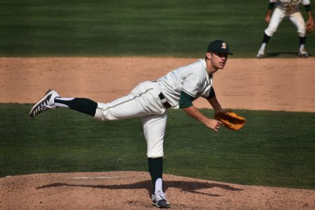 Sac State sophomore pitcher Travis Adams throws a pitch against Santa Clara on Sunday, March 1 at John Smith Field. The Hornets and Broncos split the four-game series.