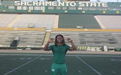 Sac State defensive back Prince Washington poses for a photo in Hornet Stadium after the team's morning workout on Friday, March 6. Washington was put on scholarship after joining the team as a walk-on and took over as the starting defensive back for the last three games of the 2019 season.